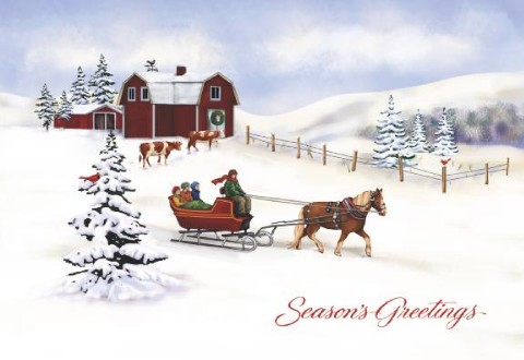 Studio Horizontal Personalised Christmas Cards One Horse Open Sleigh