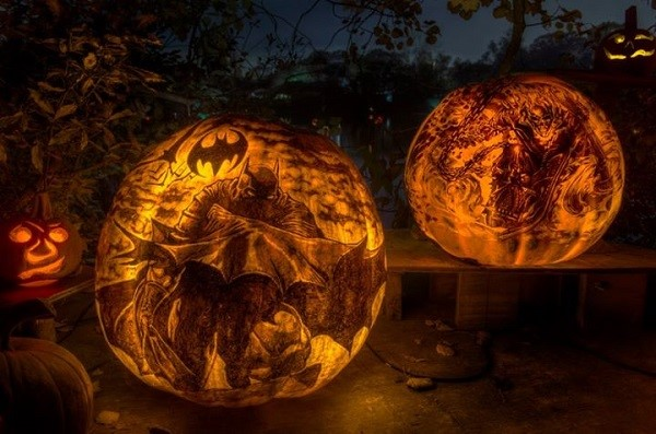 Creative Pumpkins carved and designed with pens and knifes