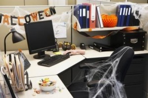 Office decorated for Halloween