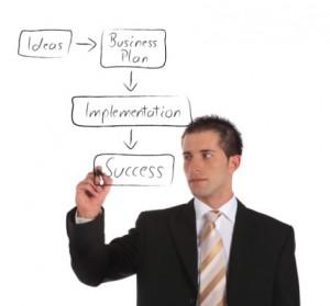 Businessman sketching concept