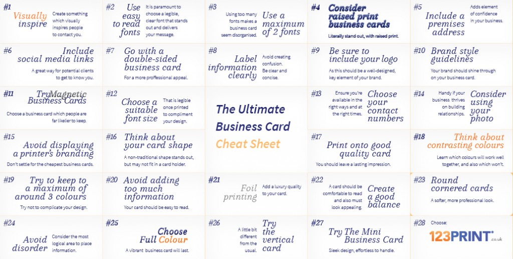 Business Card Cheat Sheet