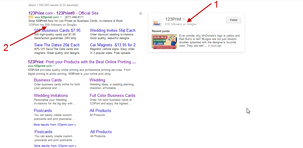 Google Plus - 123Print Search Results Marked