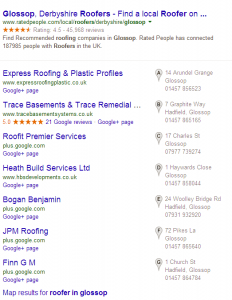 "Google search for ""roofer in glossop"" displaying ""7 Pack"" of local listings"