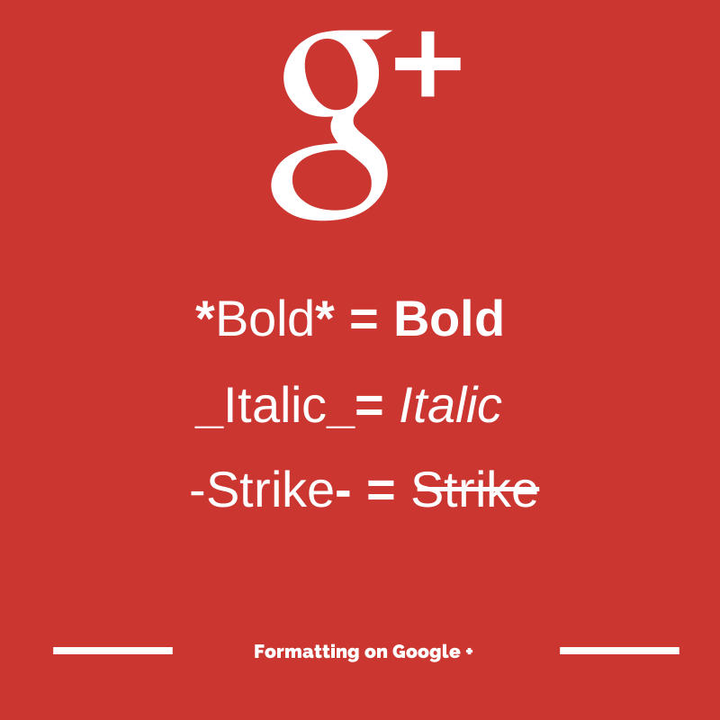 Formatting on Google +